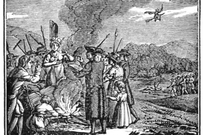 19C illustration of witch being burned at the stake. PD
